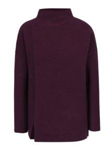 Tmavofialový voľný rebrovaný sveter s rozparkom French Connection Sunday