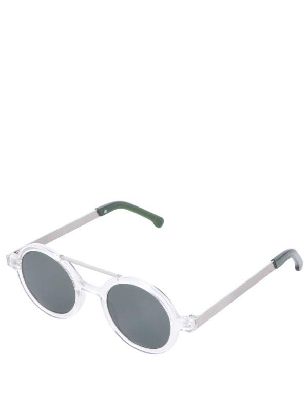 Dámske okrúhle slnečné okuliare v striebornej farbe Komono Vivien