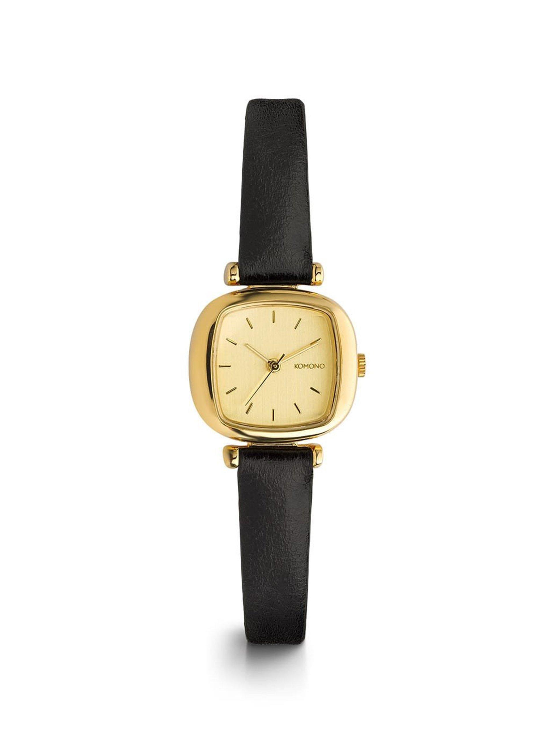 d174bb31a Dámske hodinky v zlatej farbe s čiernym koženým remienkom Komono Moneypenny