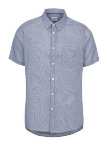 Modrá vzorovaná košeľa s krátkym rukávom Burton Menswear London
