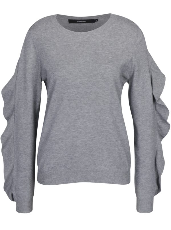 Sivý tenký sveter s volánmi na rukávoch VERO MODA Sky