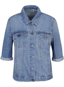Modrá rifľová bunda s krátkym rukávom Noisy May Mino
