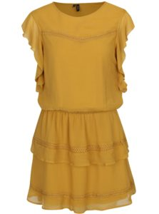 Horčicové šaty s volánmi VERO MODA Aruba