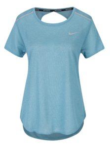 Tyrkysové dámske funkčné tričko s prestrihom na chrbte Nike