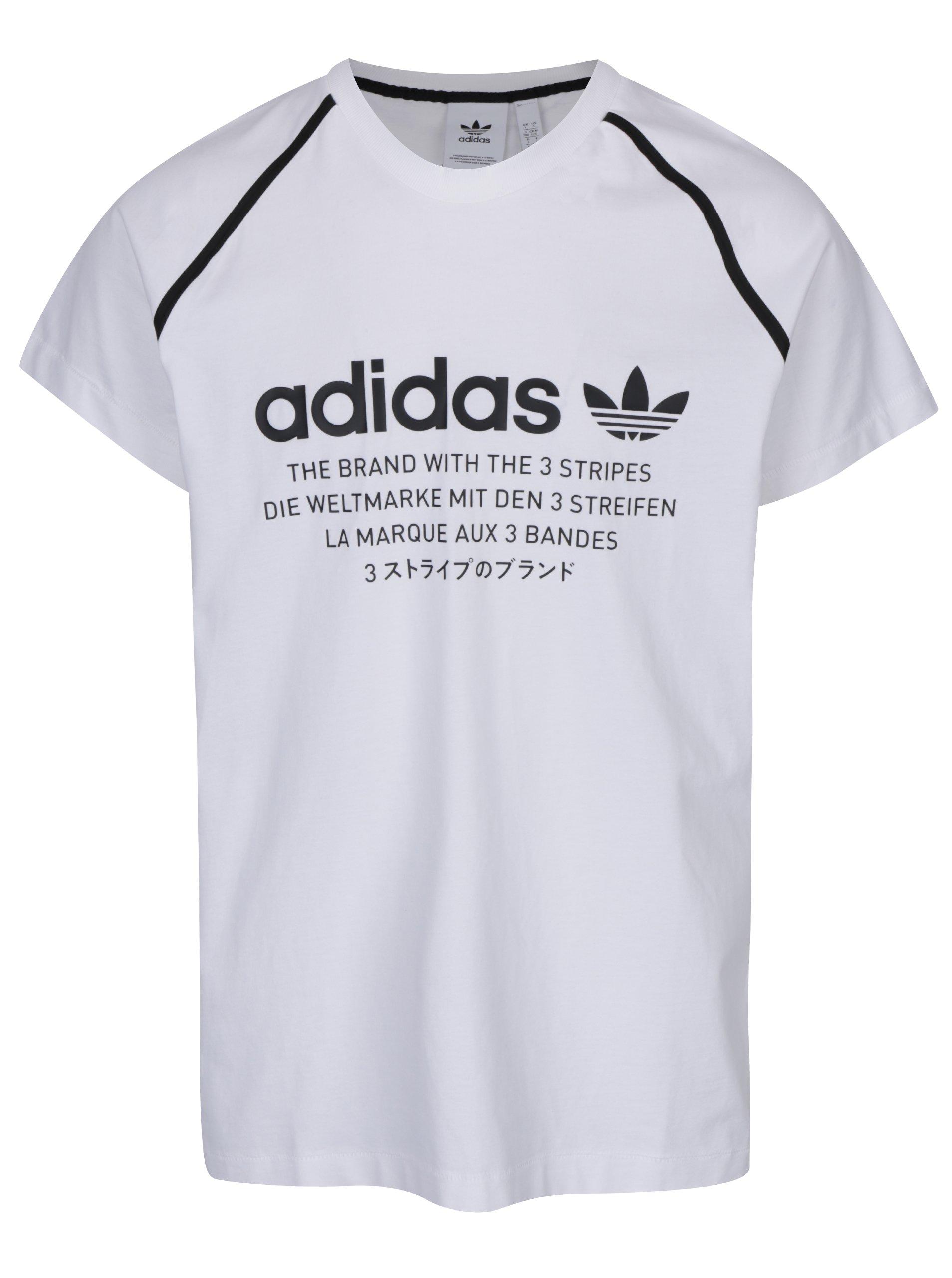 Biele pánske tričko s potlačou adidas Originals  c3f3aff6006