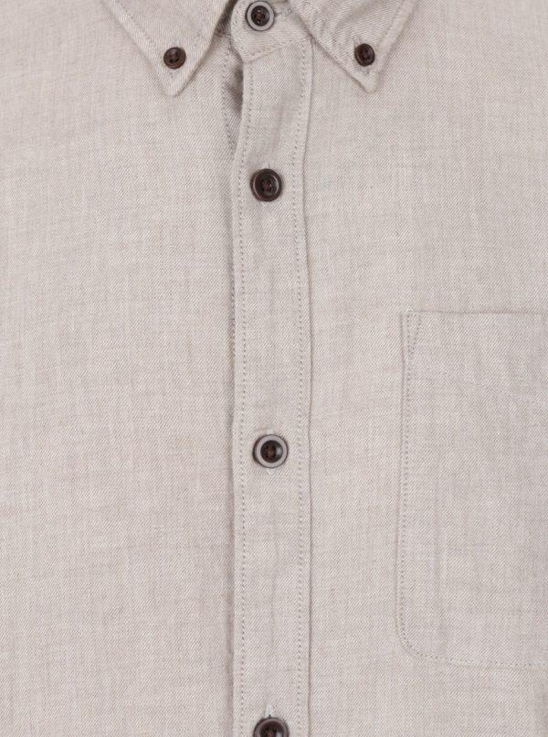 Béžová košeľa s náprsným vreckom Jack & Jones Vosakland