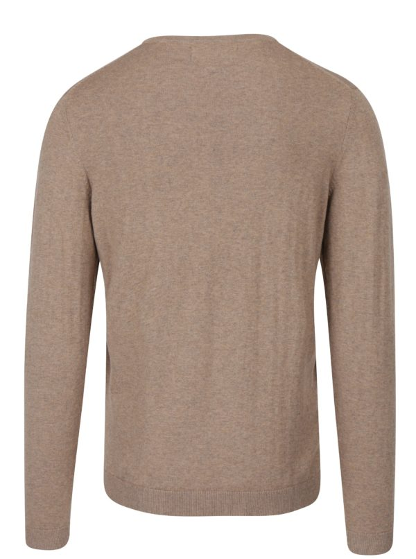 Béžový žíhaný ľahký sveter s véčkovým výstrihom Jack & Jones Luke
