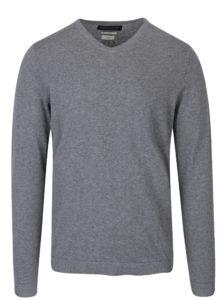 Sivý ľahký sveter s véčkovým výstrihom Jack & Jones Luke