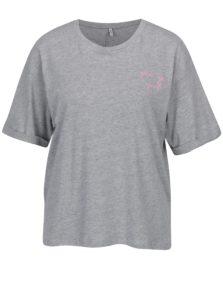 Sivé voľné melírované tričko s vyšitým nápisom ONLY Girl Boss