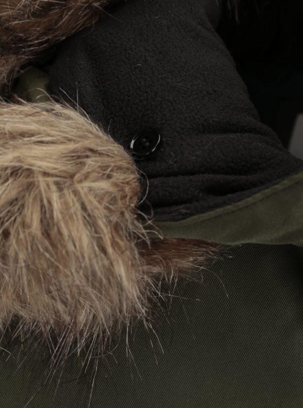 Kaki parka s kapucňou a umelým kožúškom Jack & Jones Land