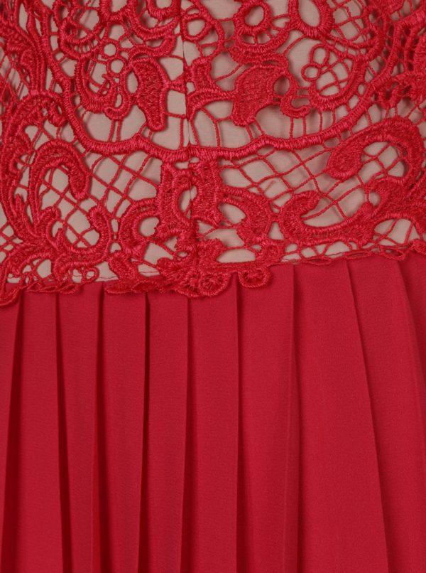 Červené maxišaty s čipkovaným topom Little Mistress