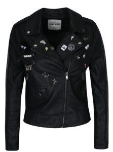 Čierna koženková bunda s odnímateľnými plastickými ozdobami TALLY WEiJL