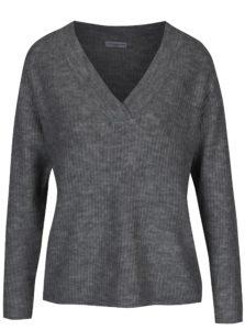 Tmavosivý rebrovaný sveter s véčkovým výstrihom Jacqueline de Yong Gold