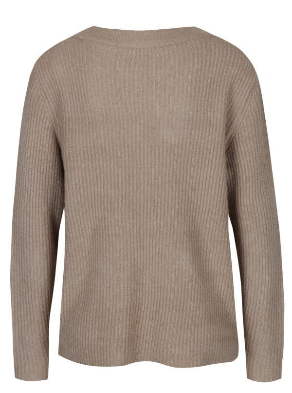 Béžový rebrovaný sveter s véčkovým výstrihom Jacqueline de Yong Gold