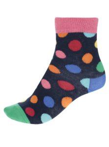 Ružovo-modré detské bodkované ponožky Happy Socks Big Dot