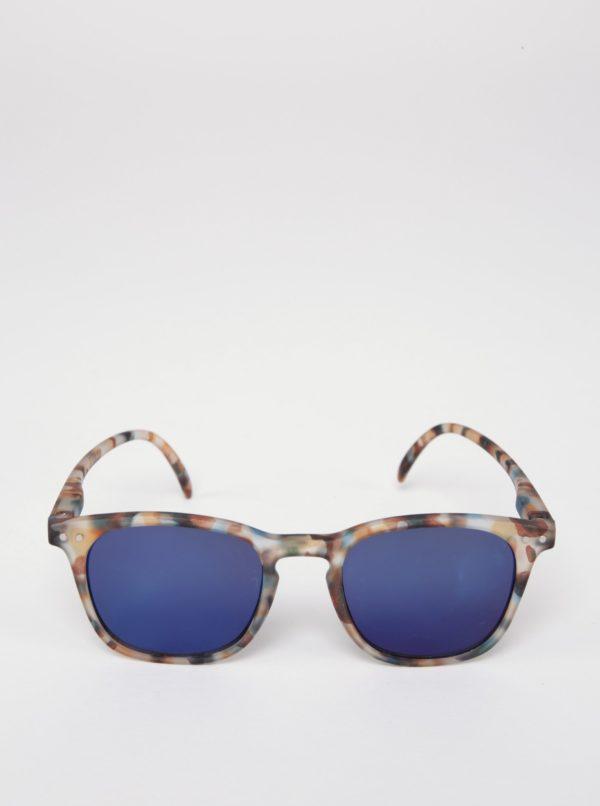 Hnedé detské maskáčové slnečné okuliare s modrými sklami IZIPIZI  #E