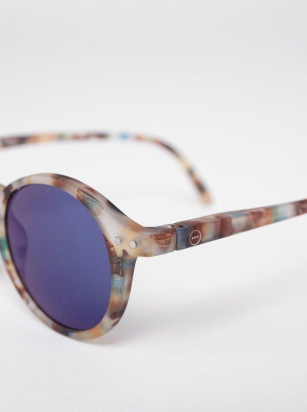 Hnedé detské maskáčové okrúhle slnečné okuliare s modrými sklami IZIPIZI  #D