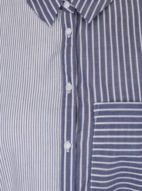 Bielo-modrá pruhovaná dlhá košeľa so zaväzovaním TALLY WEiJL