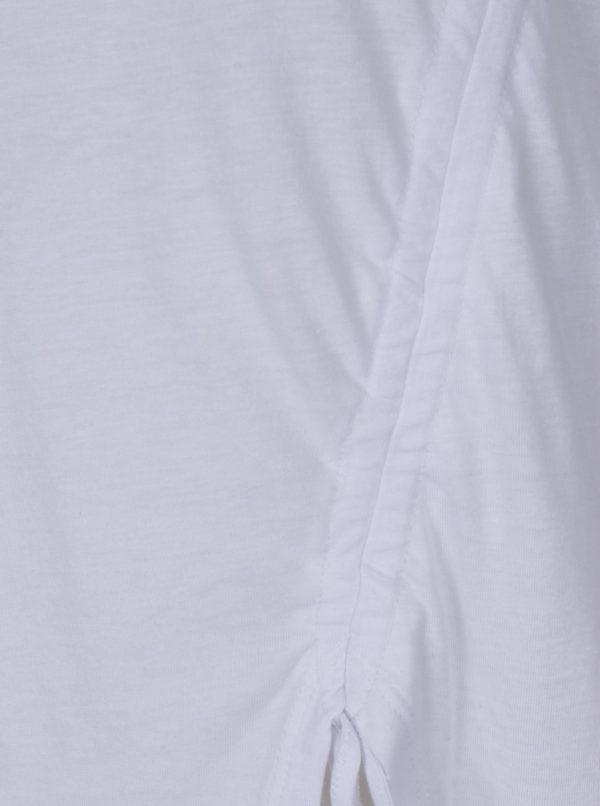 Biele asymetrické tričko so zaväzovaním TALLY WEiJL