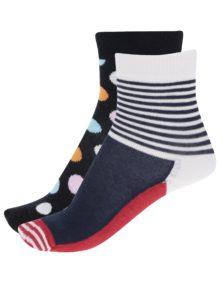 Sada dvoch párov detských vzorovaných ponožiek v modrej a čiernej farbe Happy Socks Big Dot
