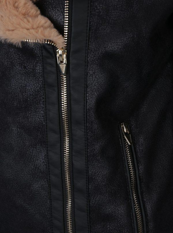 Čierny kožák s umelým kožúškom VILA Rula