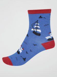 Tmavomodré chlapčenské ponožky s loďami Sock It to Me Ship Shape