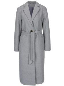 Svetlosivý dlhý kabát s opaskom Noisy May Minna