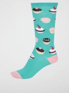 Zelené dievčenské podkolienky s tortičkami Sock It to Me Lef Them Eat Cupcakes