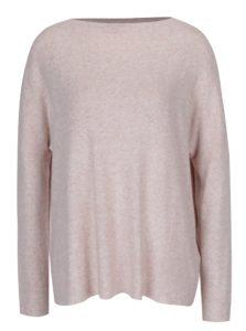 Svetloružový melírovaný sveter s dlhým rukávom ONLY Kleo