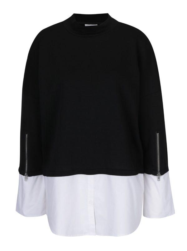 Čierna tunika so všitou košeľou Noisy May Saga
