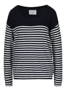 Tmavomodrý pruhovaný sveter s gombíkmi YAYA