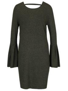Tmavozelené melírované svetrové šaty so zvonovými rukávmi VERO MODA Biggs