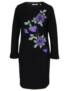 Čierne šaty s nášivkami kvetín Rich & Royal