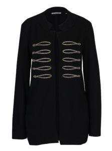 Čierny tenký kabát s detailmi v zlatej farbe Rich & Royal