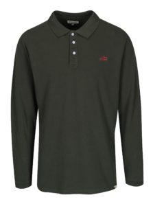 Tmavozelené polo tričko s dlhým rukávom Shine Original