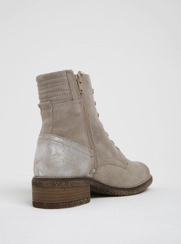 Béžové semišové členkové topánky s metalickou pätou Tamaris