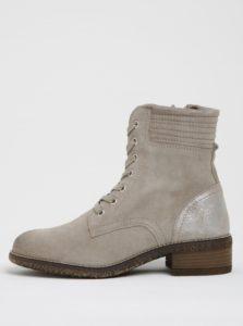 0087dba44058 Béžové semišové členkové topánky s metalickou pätou Tamaris