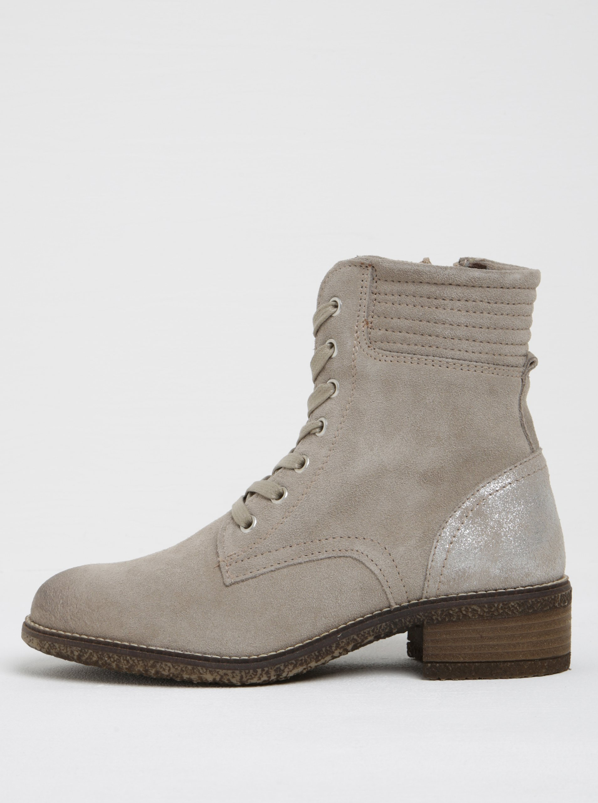 b7901acbefe19 Béžové semišové členkové topánky s metalickou pätou Tamaris   Moda.sk