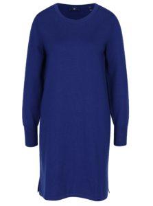 Tmavomodré svetrové vlnené šaty GANT