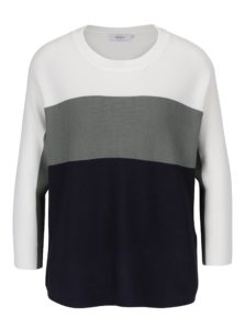 Krémovo-modrý pruhovaný sveter s 3/4 rukávmi ONLY Regitze