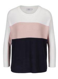 Ružovo–modrý pruhovaný sveter s 3/4 rukávmi ONLY Regitze