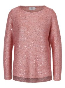 Ružový pletený sveter s flitrami ONLY Adele