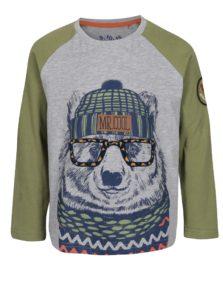 Sivo-zelené chlapčenské tričko s dlhým rukávom 5.10.15.