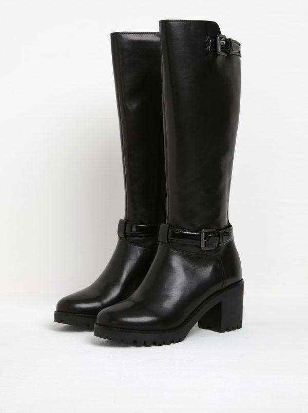 Čierne kožené čižmy na podpätku s prackou Geox Dovelyn D