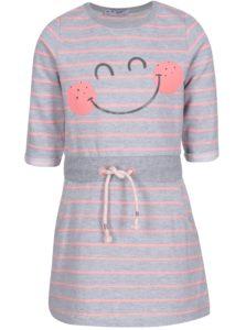 Sivé pruhované dievčenské mikinové šaty 5.10.15.