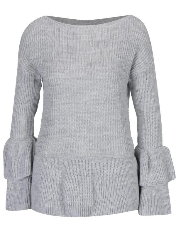 Svetlosivý sveter s volánmi Haily's Nadine