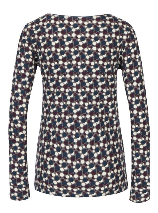 Krémovo-sivé bodkované tričko s dlhým rukávom Tranquillo Adora