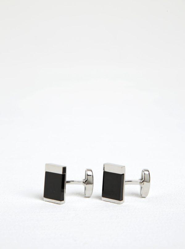 Manžetové gombíky v čierno-striebornej farbe Dice