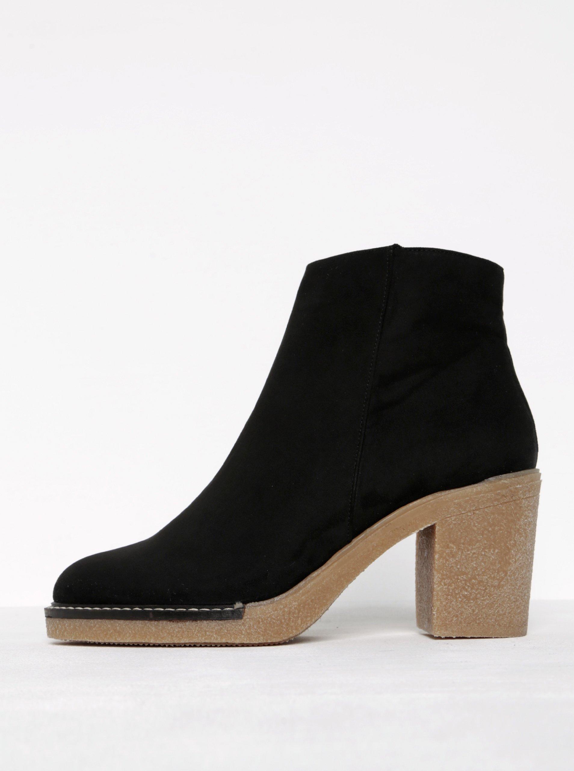 d572a40d76 Čierne členkové topánky v semišovej úprave na podpätku OJJU