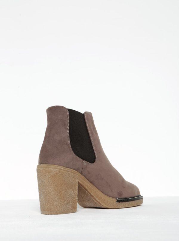 faf5a30eab Hnedé členkové topánky na podpätku v semišovej úprave OJJU